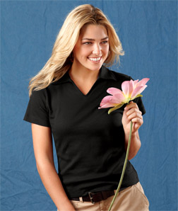8507 UltraClub Ladies' Egyptian Interlock V-Neck Polo ...