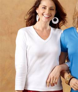 8515 UltraClub Ladies 3/4-Sleeve Egyptian Interlock V-Neck Top