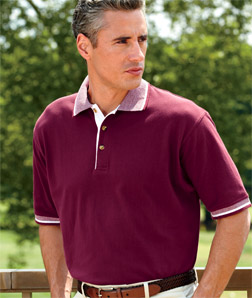 8537 UltraClub Adult Color-Body Classic Pique Polo with Contrasting Multi-Stripe Trim
