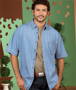 8965 UltraClub Adult Short-Sleeve Cypress Denim with ...