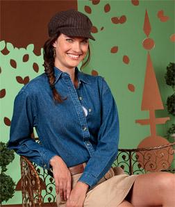 UltraClub 8966 女士长袖Cypress 粗斜纹布衬衣T恤