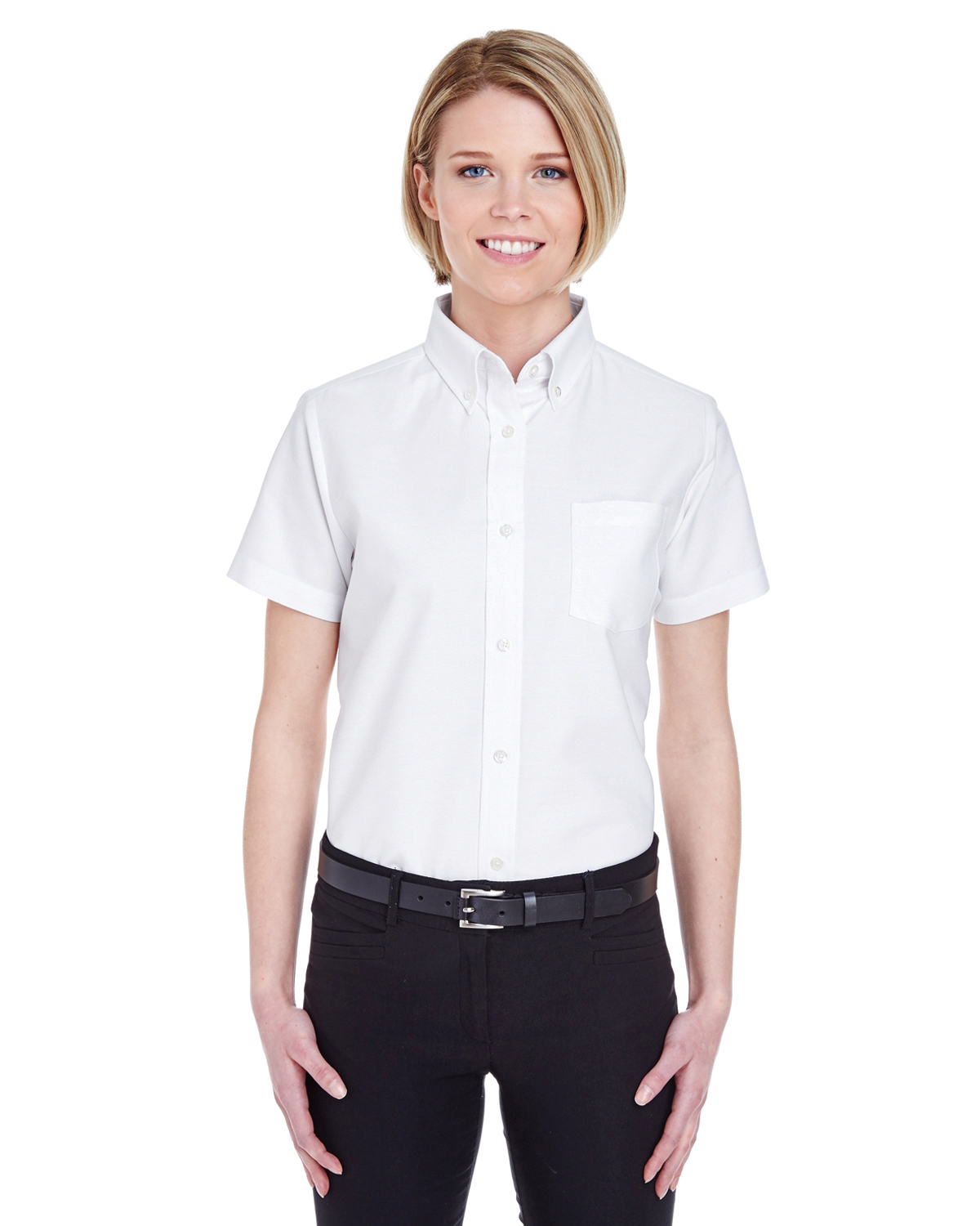 8973 UltraClub Ladies' Classic Wrinkle-Free Short-Sleeve ...