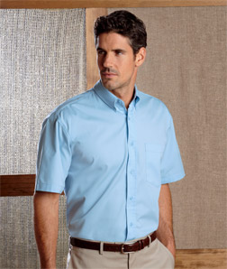 8977 UltraClub Adult Whisper Twill Short-Sleeve Shirt