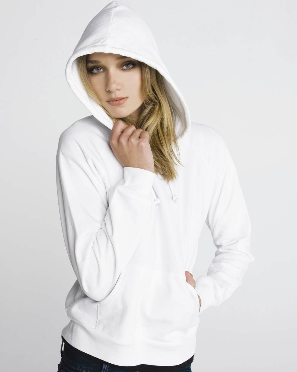 Bella 7001 fleece raglan hooded pullover