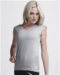 alo W2003 Ladies' V-Neck Cap Sleeve T-Shirt