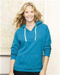 J. America 8836 Ladies' Sydney Brushed V-Neck Hoodeed ...