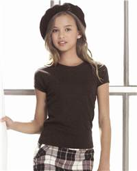 bella girl 9001 1x1 Rib Short Sleeve Crewneck T-Shirt