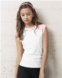bella girl 9020 1x1 Rib Cap Sleeve T-Shirt