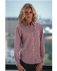 Bill Blass BBP1941 Ladies Wrinkle-Free Checked Broadcloth Long Sleeve Shirt