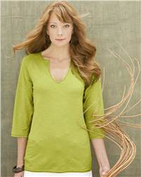 Colorado Clothing 1558 Soybu Ladies' Slub 3/4 Sleeve Tunic with Raw Edges
