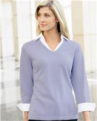Jockey 58020 Ladies' Fine  V-neck Sweater with Woven Collar and Cuffs