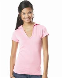 L.A.T Sportswear 3609 Juniors' Fine Jersey Longer Length Short Sleeve V-Neck Hooded T-Shirt