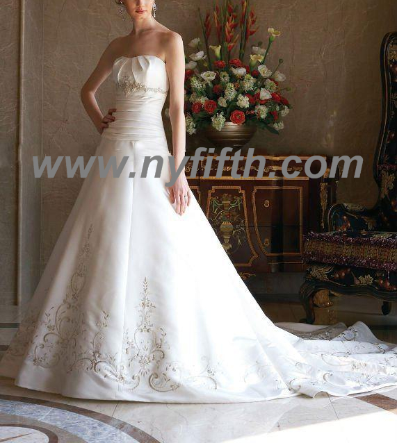 A-line with lace bridal dress