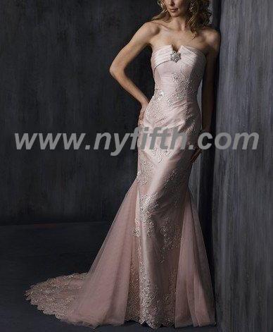 Custom Charming Strapless Lace Wedding Dress