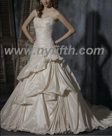 Custom Charming Strapless Taffeta Wedding Dress
