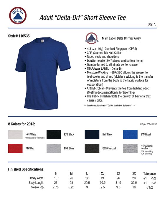 72e442b4 Delta Apparel 116535 - Delta Dri T-shirt 4.3 oz $3.83 - Men's T-Shirts