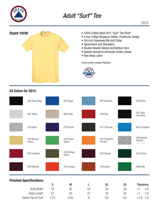 fcdd7a67f7 Delta Apparel 19100 - Ringspun Surf T-shirt 5.5 oz $3.84 - Men's T ...