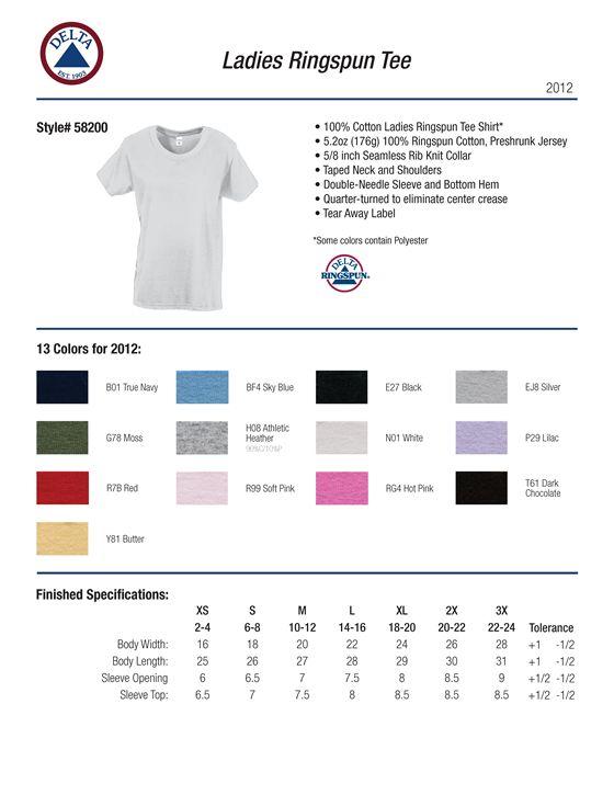 2c659e42 Delta Apparel 58200 - Ladies Ringspun Shirt 5.2 oz $2.89 - Women's T ...