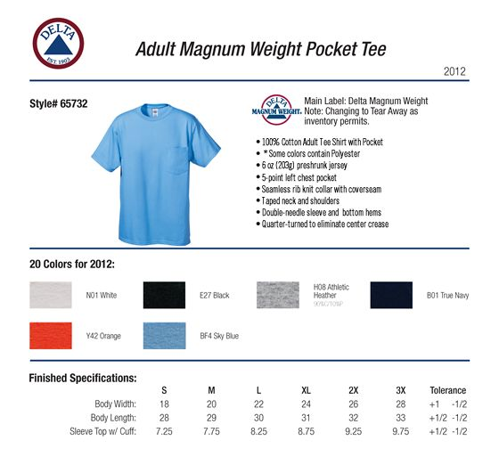 Delta apparel 65732 pocket t shirt magnum weight 60 oz 521 specs sizing specs sciox Gallery