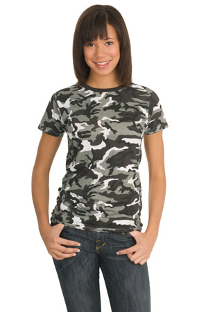 District Threads DT200C Junior Ladies Camo Perfect Weight District Tee.