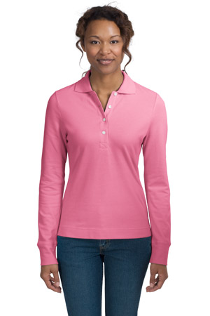 District Threads DT301LS Junior Ladies Long Sleeve Stretch Pique Polo.