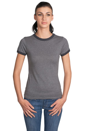 District Threads DT225 Junior Ladies Perfect Weight Heathered Jersey Ringer Tee.
