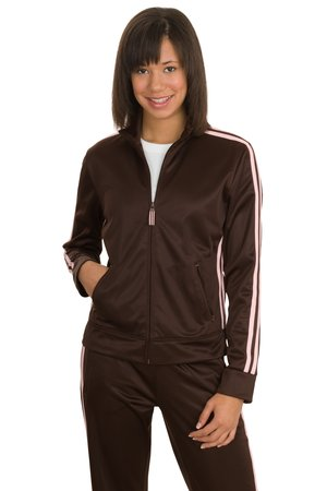 District Threads DT501 Junior Ladies Track Jacket with Striping.