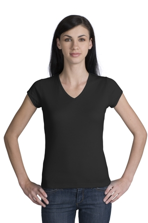 District Threads DT204V Junior Ladies V-Neck Tee.
