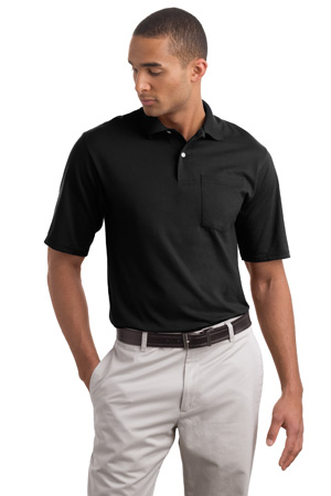 JERZEESJersey Knit Sport Shirt with Pocket with SpotShield.