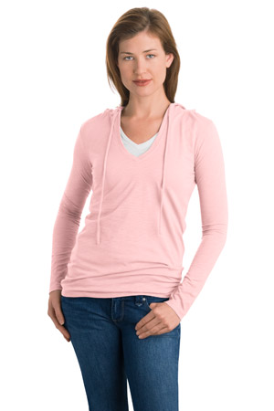 District Threads DT241 Junior Ladies Slub V-Neck Hoodie.