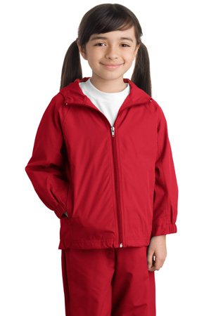 Sport-Tek YST73 Youth Hooded Raglan Jacket.