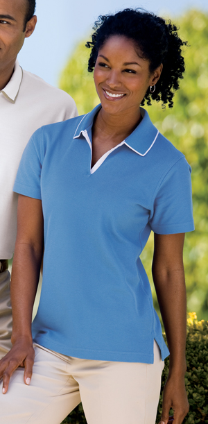 Outer Banks 6094 Ladies Egyptian Diamond Knit Sport Shirt with Tipping.