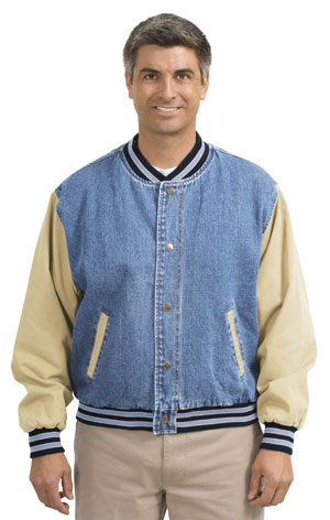 Port Authority® J761 Denim and Twill Letterman Jacket