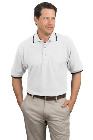 Port Authority Signature K431P Cool MeshSport Shirt with Pocket and Tipping Stripe Trim.