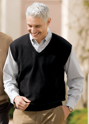 Port Authority Signature SW276 Fine-Gauge V-Neck Sweater Vest