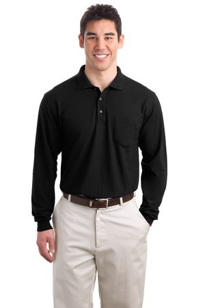 Port Authority® K500LSP Long Sleeve Silk Touch™ Polo with Pocket