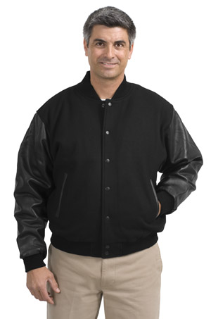 Port Authority® J783 Wool and Leather Letterman ...