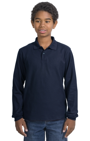 Port Authority® Y500LS Youth Long Sleeve Silk Touch&...