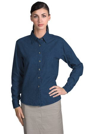 Port & Company® LSP10 Ladies Long Sleeve Value Denim Shirt