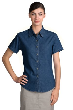 Port & Company® LSP11 Ladies Short Sleeve Value Denim Shirt