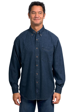 Port & Company® SP10 Long Sleeve Value Denim Shirt
