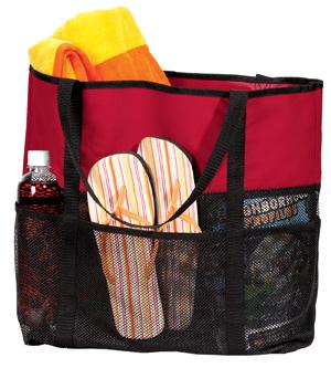 Port & Company B518 Mesh Beach Bag with Contrast Trim.