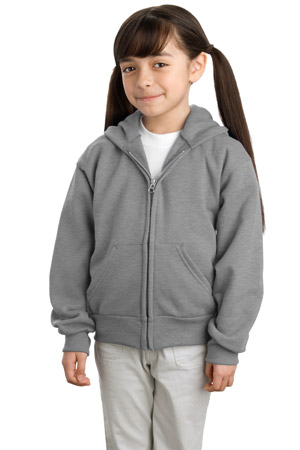 Port & Company® PC90YZH Youth Full-Zip Hooded Sweatshirt