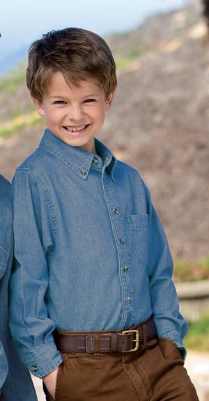 Port & Company® YSP10 Youth Long Sleeve Value Denim Shirt