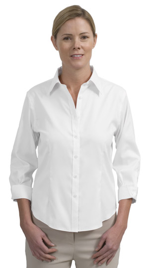 Red House® RH45 Ladies 3/4-Sleeve Non-Iron Pinpoint Oxford