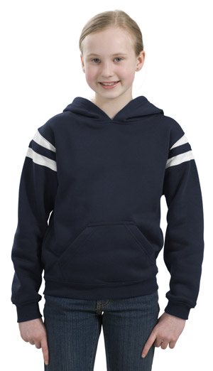 Sport-Tek Y261 Youth Pullover Hooded Sweatshirt with Mesh Arm Stripe.