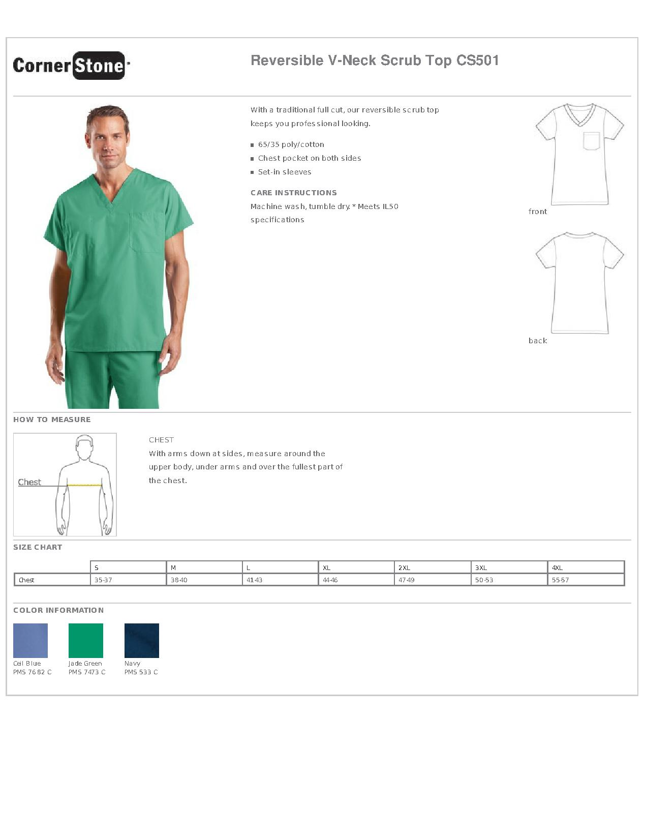 add71affae3 CornerStone® CS501 Reversible V-Neck Scrub Top - Work Shirts