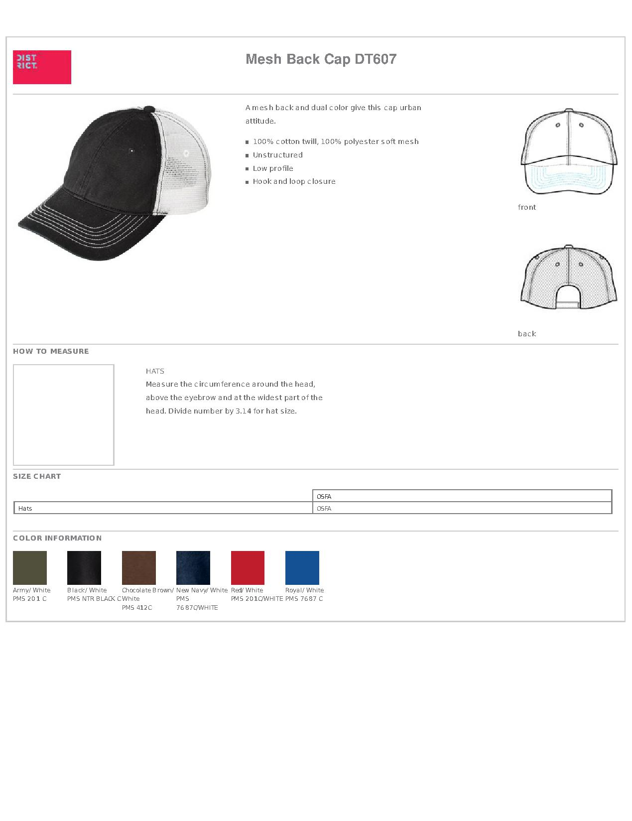 3539a97e1c76a2 Popular Designs. custom design of District® DT607 Mesh Back Cap