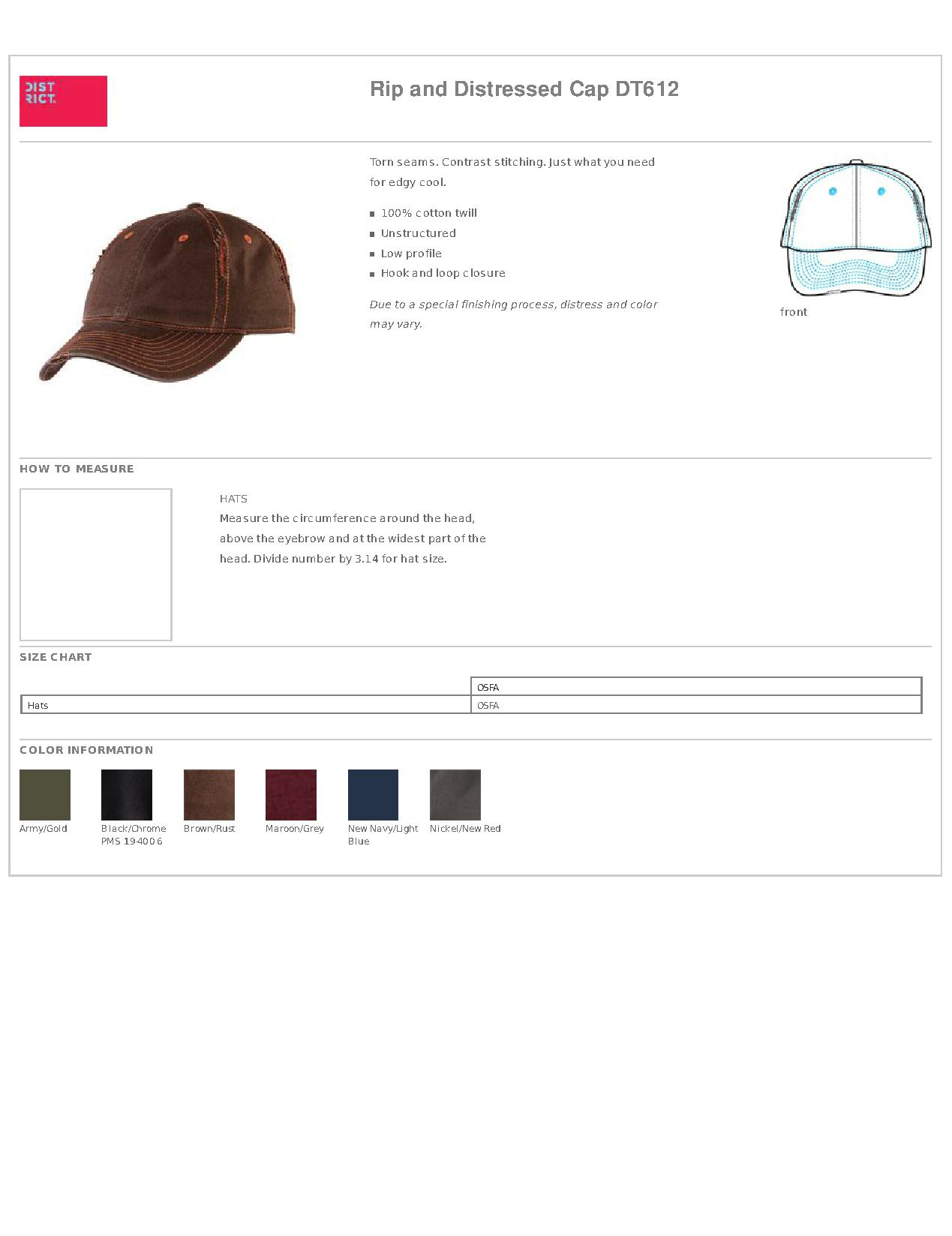 4a3bee3963d District® DT612 Rip and Distressed Cap - Headwear