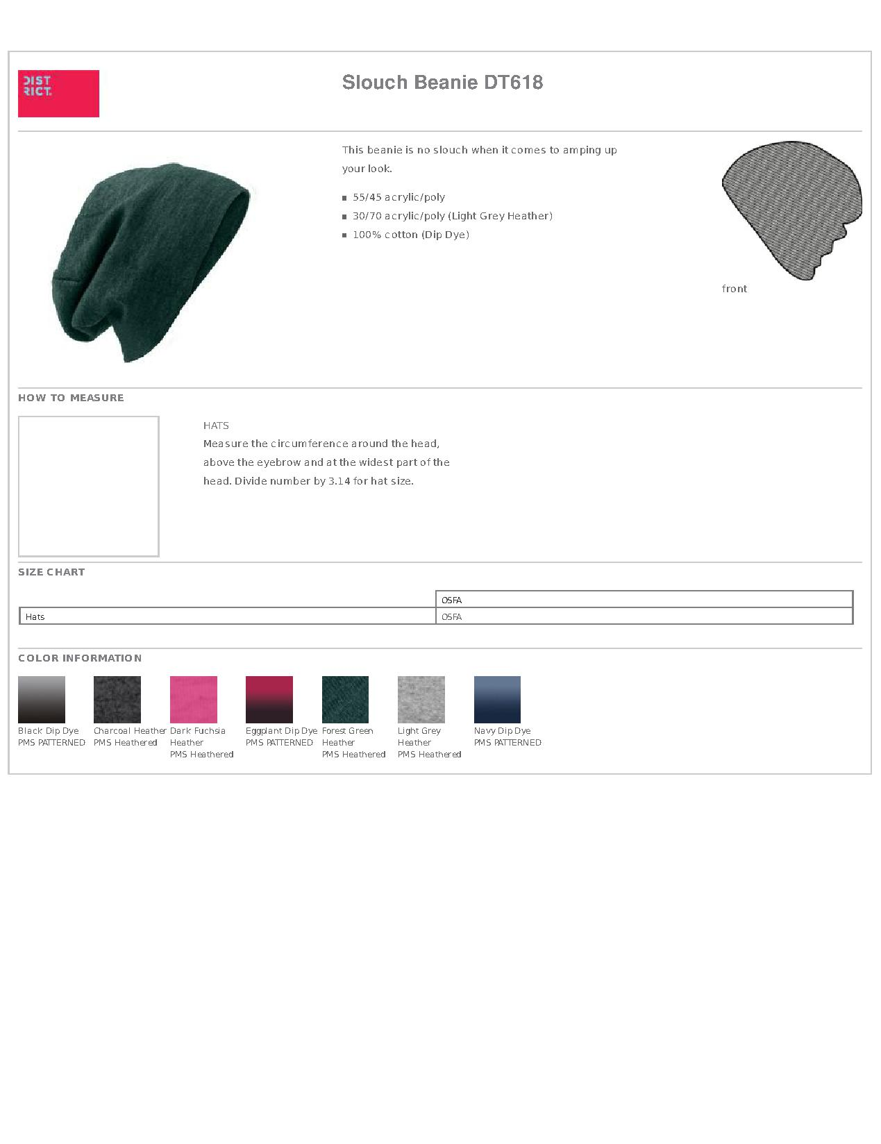 ea7a2345410 Popular Designs. custom design of District DT618 Slouch Beanie